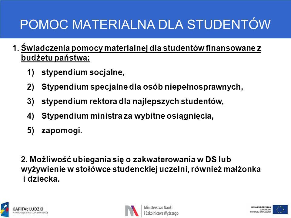 POMOC MATERIALNA DLA STUDENTÓW 1.Świadczenia pomocy materialnej dla studentów finansowane z budżetu państwa: 1)stypendium socjalne, 2)Stypendium specj