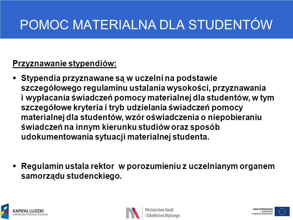 POMOC MATERIALNA DLA STUDENTÓW Przyznawanie stypendiów:  Stypendia przyznawane są w uczelni na podstawie szczegółowego regulaminu ustalania wysokości
