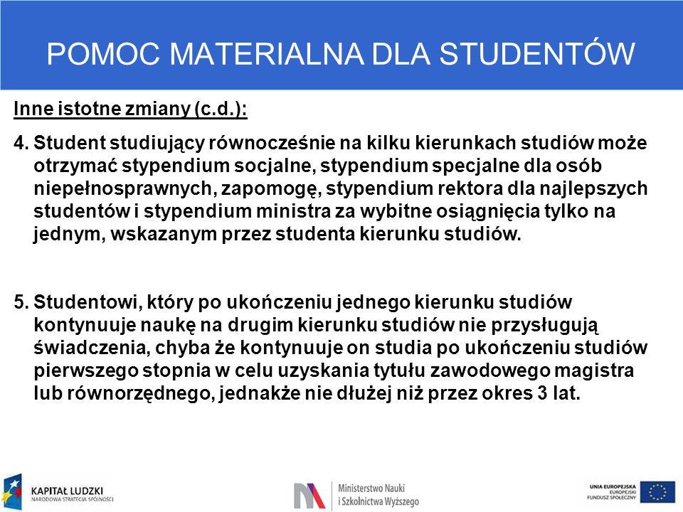 POMOC MATERIALNA DLA STUDENTÓW Inne istotne zmiany (c.d.): 4.Student studiujący równocześnie na kilku kierunkach studiów może otrzymać stypendium socj