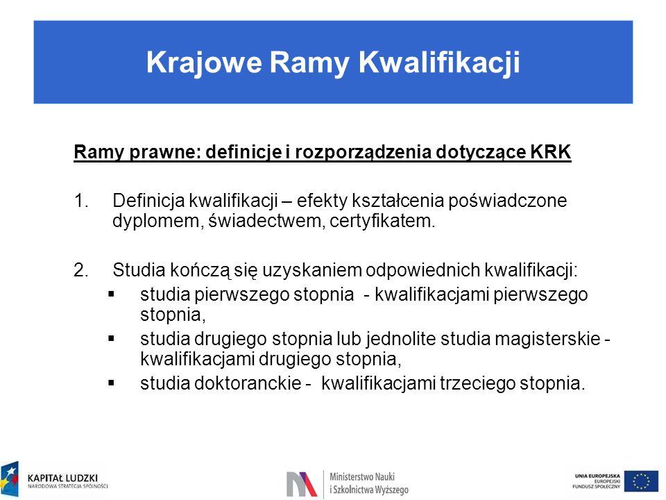 Ramy prawne: definicje i rozporządzenia dotyczące KRK 1.Definicja kwalifikacji – efekty kształcenia poświadczone dyplomem, świadectwem, certyfikatem.
