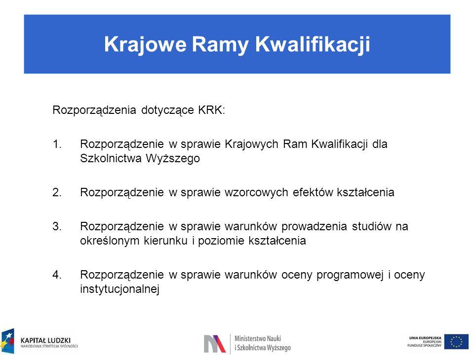 Rozporządzenia dotyczące KRK: 1.Rozporządzenie w sprawie Krajowych Ram Kwalifikacji dla Szkolnictwa Wyższego 2.Rozporządzenie w sprawie wzorcowych efe