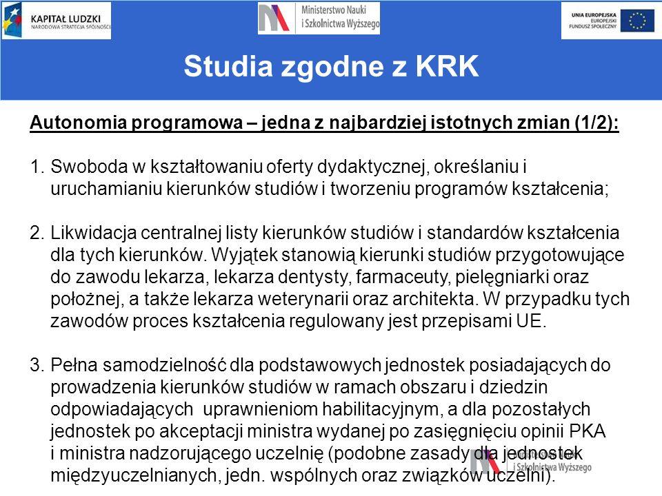 Warunki prowadzenia studiów Autonomia programowa – jedna z najbardziej istotnych zmian (1/2): 1.Swoboda w kształtowaniu oferty dydaktycznej, określani