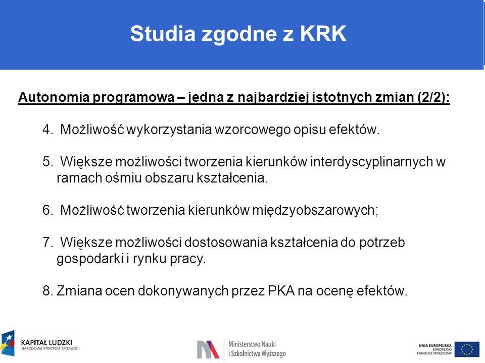 Warunki prowadzenia studiów Studia zgodne z KRK Autonomia programowa – jedna z najbardziej istotnych zmian (2/2): 4. Możliwość wykorzystania wzorcoweg