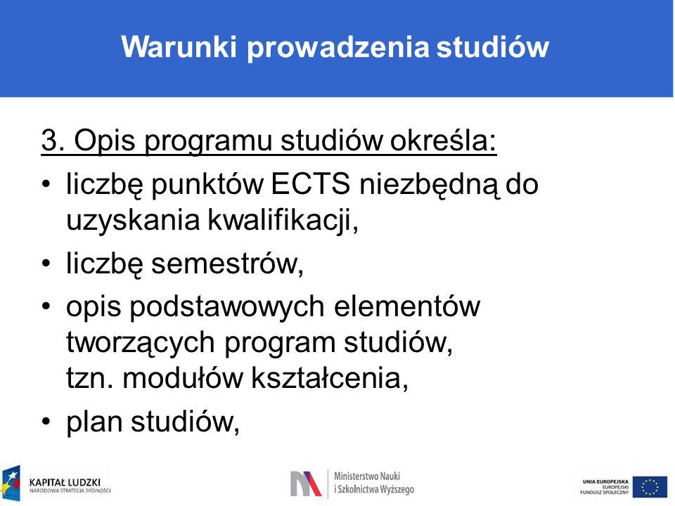 Warunki prowadzenia studiów 3. Opis programu studiów określa: liczbę punktów ECTS niezbędną do uzyskania kwalifikacji, liczbę semestrów, opis podstawo