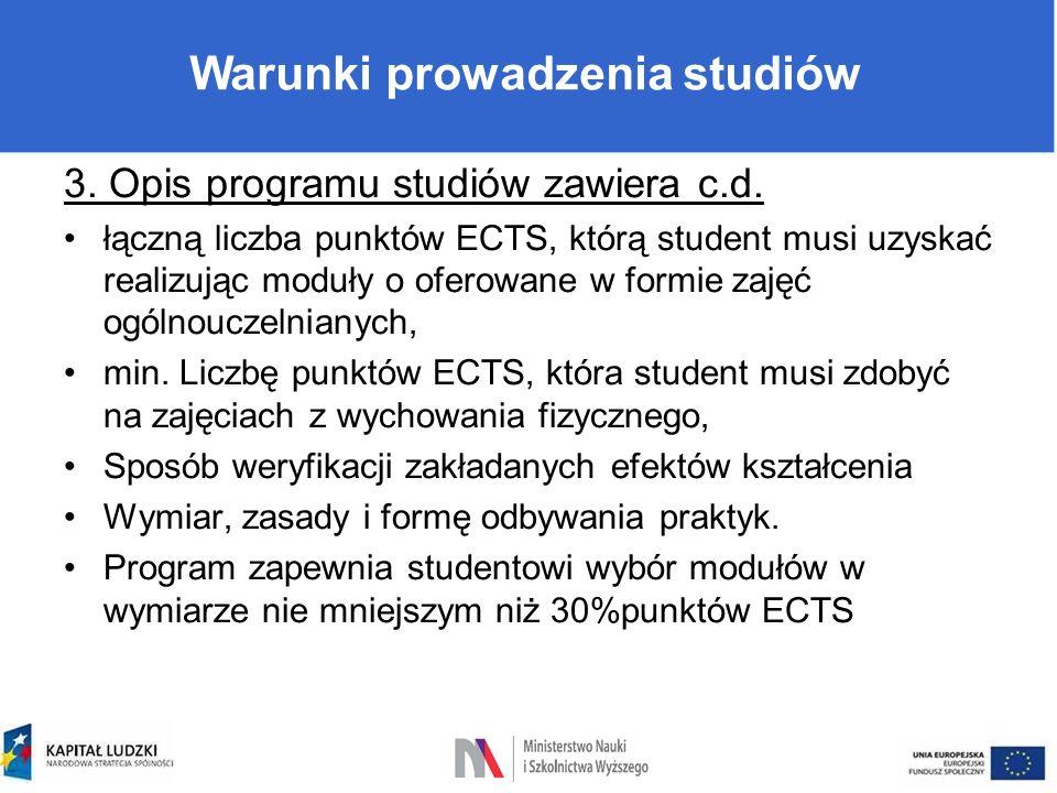 Warunki prowadzenia studiów 3. Opis programu studiów zawiera c.d. łączną liczba punktów ECTS, którą student musi uzyskać realizując moduły o oferowane