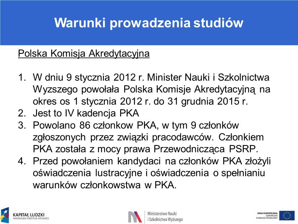 Warunki prowadzenia studiów Polska Komisja Akredytacyjna 1.W dniu 9 stycznia 2012 r. Minister Nauki i Szkolnictwa Wyzszego powołała Polska Komisje Akr