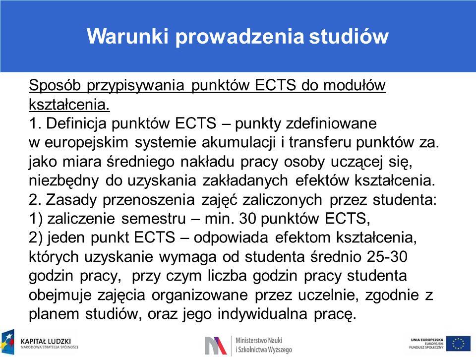 Warunki prowadzenia studiów Sposób przypisywania punktów ECTS do modułów kształcenia. 1. Definicja punktów ECTS – punkty zdefiniowane w europejskim sy