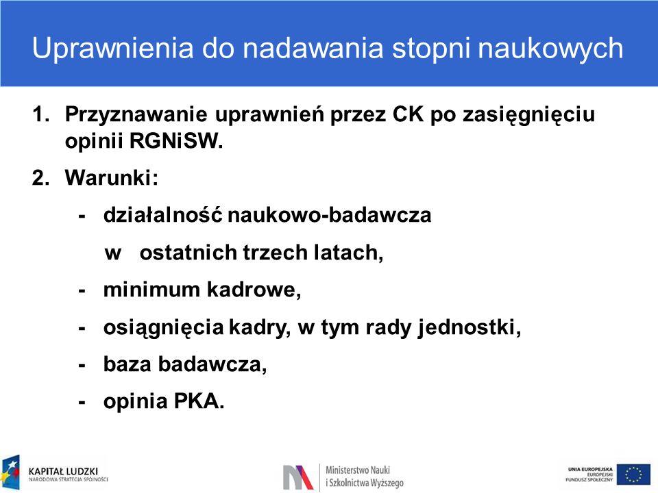 Uprawnienia do nadawania stopni naukowych 1.Przyznawanie uprawnień przez CK po zasięgnięciu opinii RGNiSW. 2.Warunki: - działalność naukowo-badawcza w
