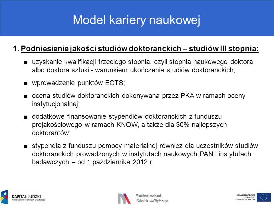 Model kariery naukowej 1.Podniesienie jakości studiów doktoranckich – studiów III stopnia: ■uzyskanie kwalifikacji trzeciego stopnia, czyli stopnia na