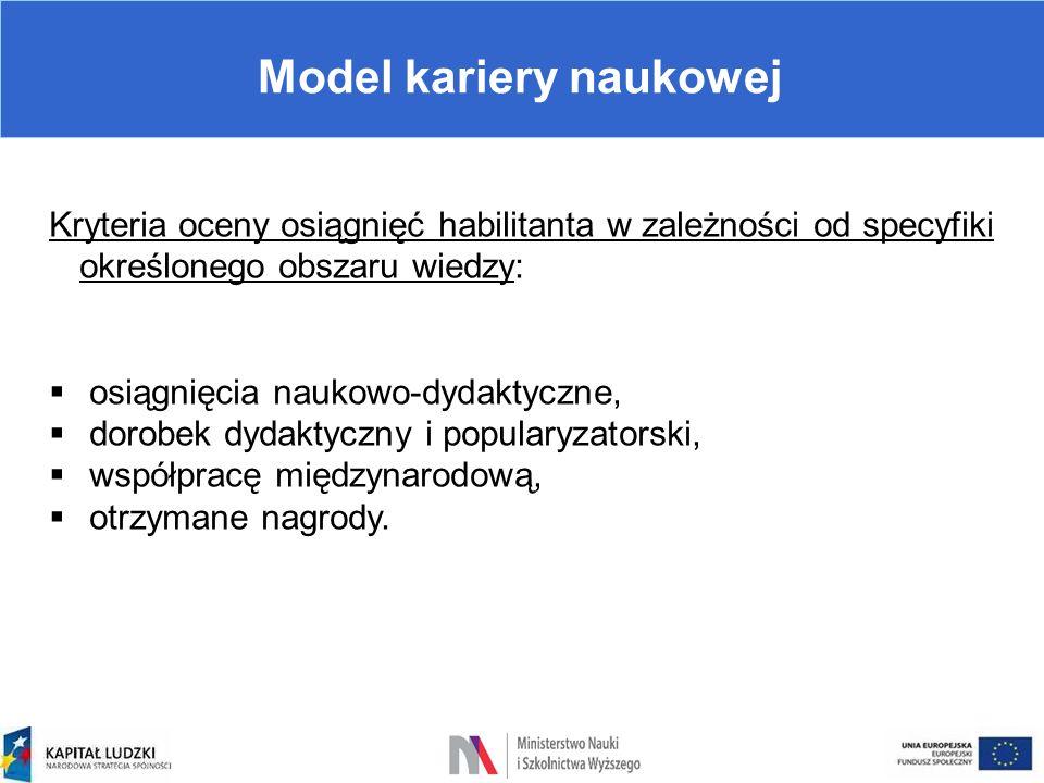 Model kariery naukowej Kryteria oceny osiągnięć habilitanta w zależności od specyfiki określonego obszaru wiedzy:  osiągnięcia naukowo-dydaktyczne, 