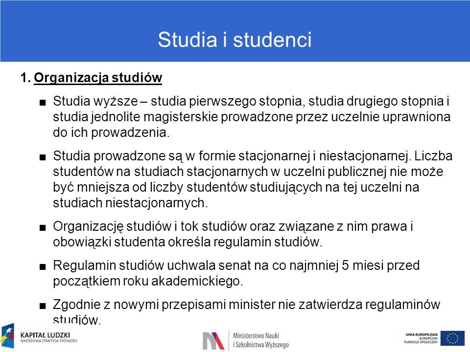Studia i studenci 1.Organizacja studiów ■Studia wyższe – studia pierwszego stopnia, studia drugiego stopnia i studia jednolite magisterskie prowadzone