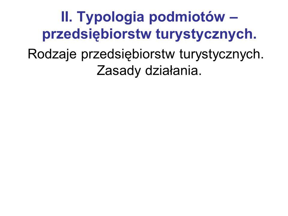 II.Typologia podmiotów – przedsiębiorstw turystycznych.