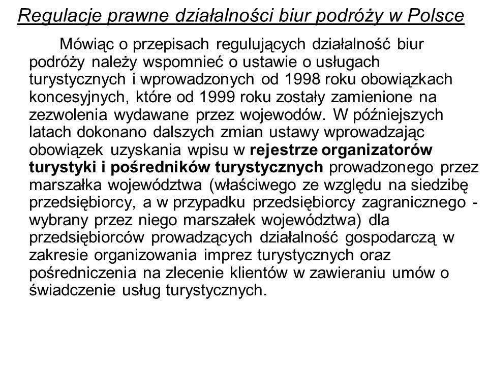 Regulacje prawne działalności biur podróży w Polsce Mówiąc o przepisach regulujących działalność biur podróży należy wspomnieć o ustawie o usługach turystycznych i wprowadzonych od 1998 roku obowiązkach koncesyjnych, które od 1999 roku zostały zamienione na zezwolenia wydawane przez wojewodów.