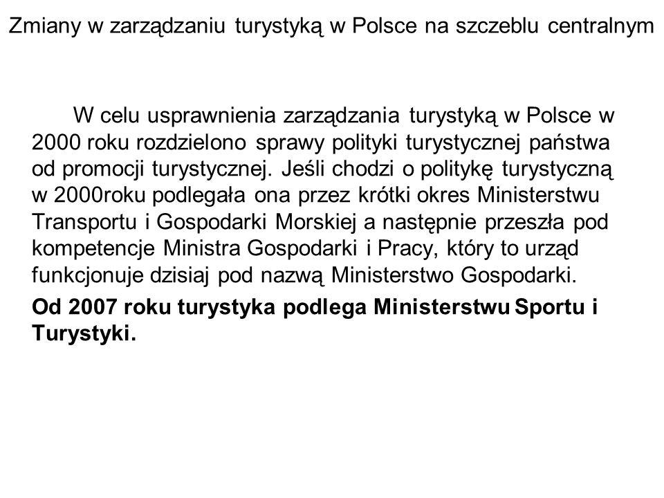 Zmiany w zarządzaniu turystyką w Polsce na szczeblu centralnym W celu usprawnienia zarządzania turystyką w Polsce w 2000 roku rozdzielono sprawy polityki turystycznej państwa od promocji turystycznej.