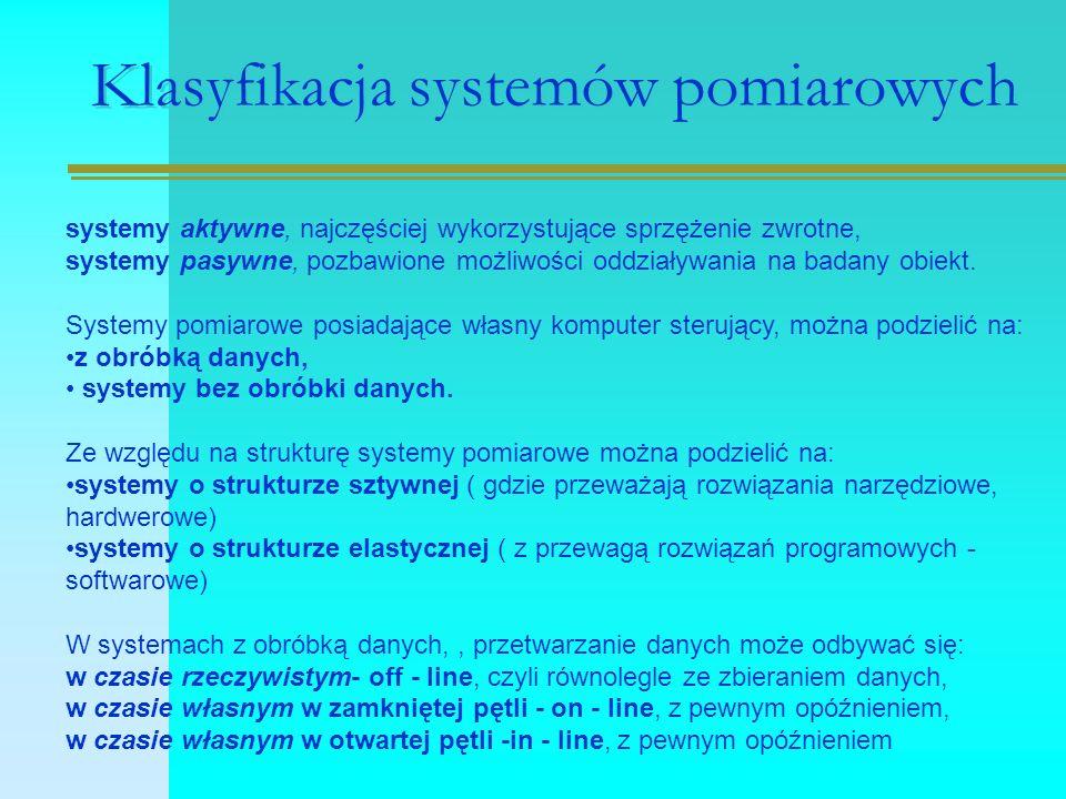Klasyfikacja systemów pomiarowych systemy aktywne, najczęściej wykorzystujące sprzężenie zwrotne, systemy pasywne, pozbawione możliwości oddziaływania na badany obiekt.