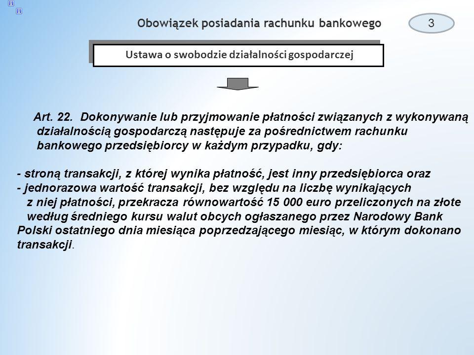 Obowiązek posiadania rachunku bankowego 3 Ustawa o swobodzie działalności gospodarczej Art.