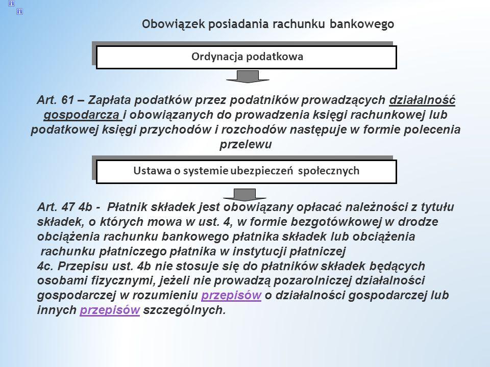 Obowiązek posiadania rachunku bankowego Ordynacja podatkowa Art.