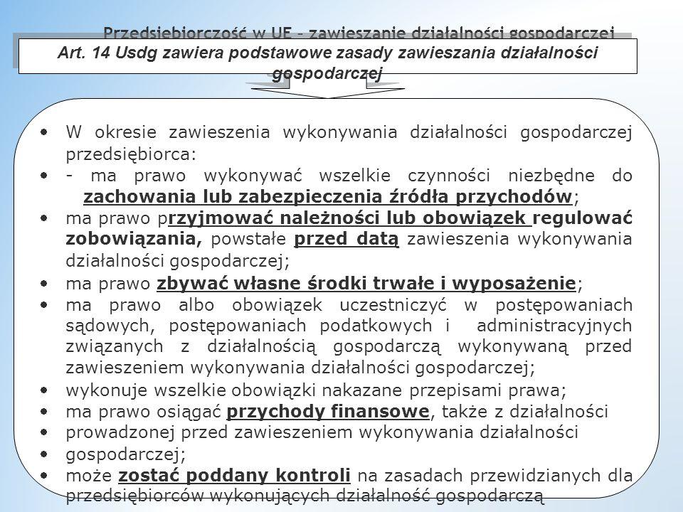 Przedsiębiorczość w UE – zawieszanie działalności gospodarczej Art.