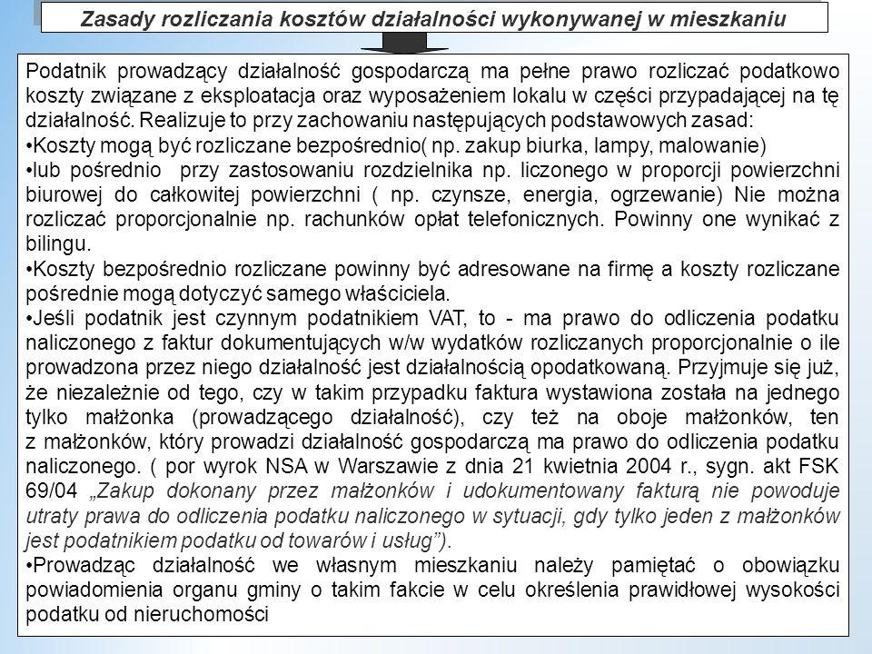 dr W.Wyrzykowski 205 Zasady rozliczania kosztów działalności wykonywanej w mieszkaniu Podatnik prowadzący działalność gospodarczą ma pełne prawo rozliczać podatkowo koszty związane z eksploatacja oraz wyposażeniem lokalu w części przypadającej na tę działalność.
