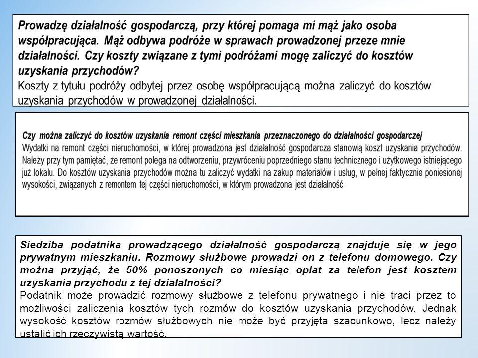 dr W.Wyrzykowski 211 Siedziba podatnika prowadzącego działalność gospodarczą znajduje się w jego prywatnym mieszkaniu.