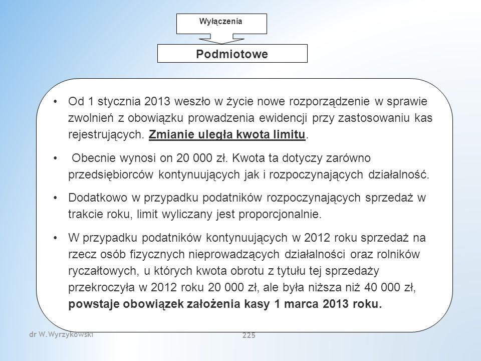 dr W.Wyrzykowski 225 Podmiotowe Od 1 stycznia 2013 weszło w życie nowe rozporządzenie w sprawie zwolnień z obowiązku prowadzenia ewidencji przy zastosowaniu kas rejestrujących.