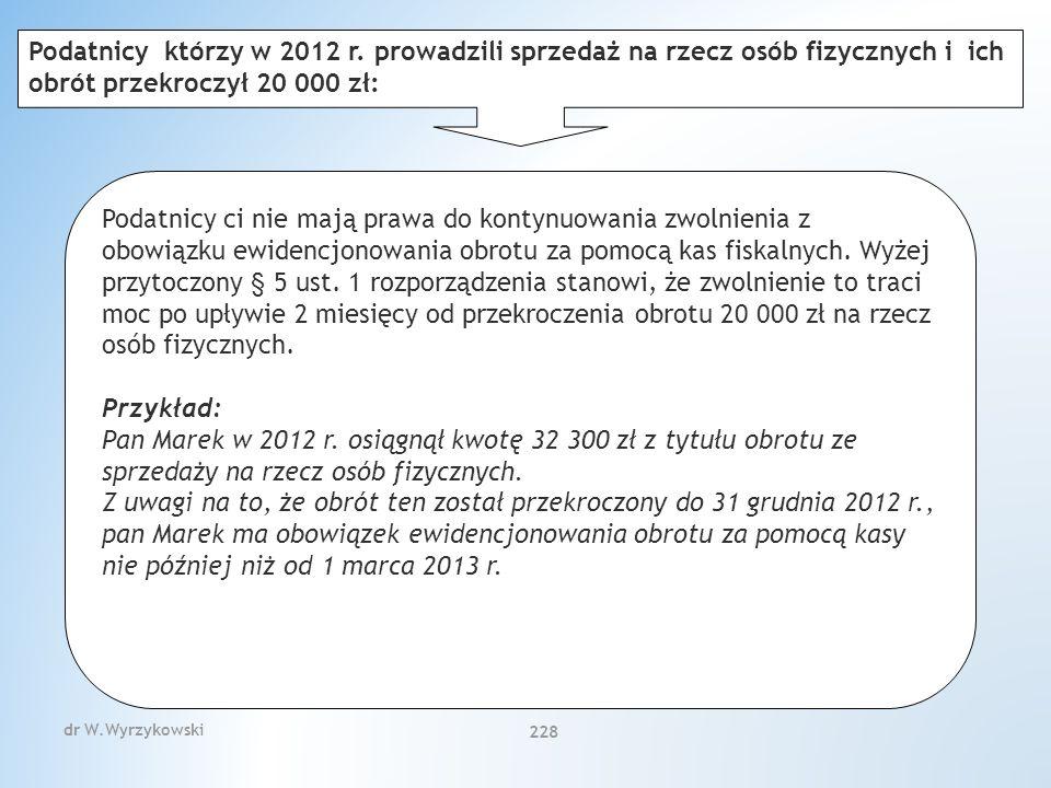 dr W.Wyrzykowski 228 Podatnicy ci nie mają prawa do kontynuowania zwolnienia z obowiązku ewidencjonowania obrotu za pomocą kas fiskalnych.