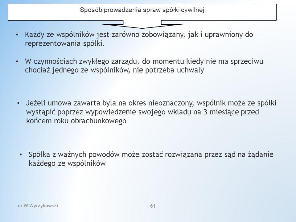 dr W.Wyrzykowski 61 Sposób prowadzenia spraw spółki cywilnej Każdy ze wspólników jest zarówno zobowiązany, jak i uprawniony do reprezentowania spółki.