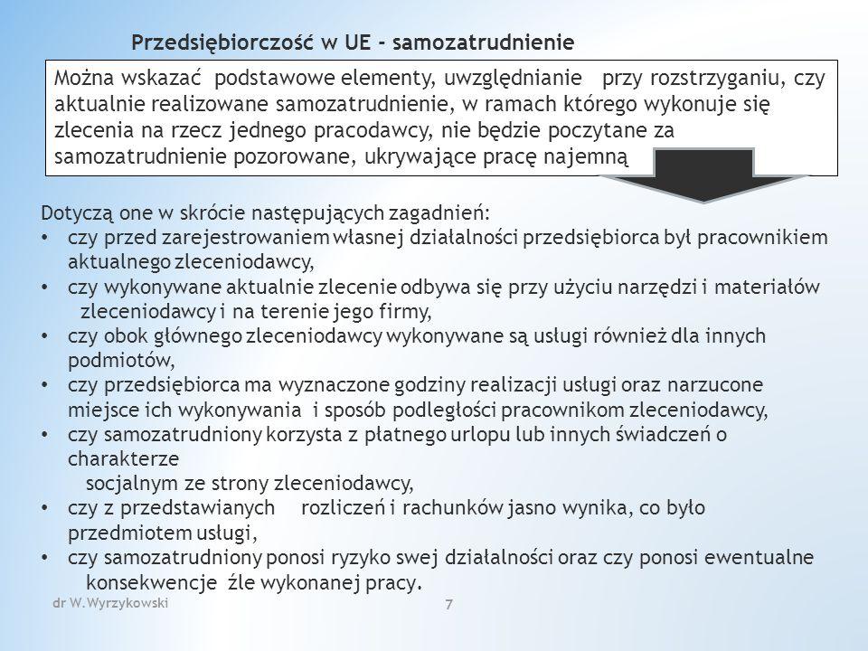ZAKRES WPISU DO CEIDG Wpisowi do CEIDG podlegają: 1) firma przedsiębiorcy oraz jego numer PESEL, o ile taki posiada; 2) numer identyfikacyjny REGON przedsiębiorcy, o ile taki posiada; 3) numer identyfikacji podatkowej (NIP), o ile taki posiada; 4) informacja o obywatelstwie polskim przedsiębiorcy, o ile takie posiada, i innych obywatelstwach przedsiębiorcy 5) oznaczenie miejsca zamieszkania i adresu, adres do doręczeń przedsiębiorcy oraz adres, pod którym jest wykonywana działalność gospodarcza, a jeżeli przedsiębiorca wykonuje działalność poza miejscem zamieszkania - adres głównego miejsca wykonywania działalności i oddziału, jeżeli został utworzony; 6) adres poczty elektronicznej przedsiębiorcy oraz jego strony internetowej, o ile takie posiada; 7) data rozpoczęcia wykonywania działalności gospodarczej; 8) określenie przedmiotów wykonywanej działalności gospodarczej, zgodnie z Polską Klasyfikacją Działalności (PKD);