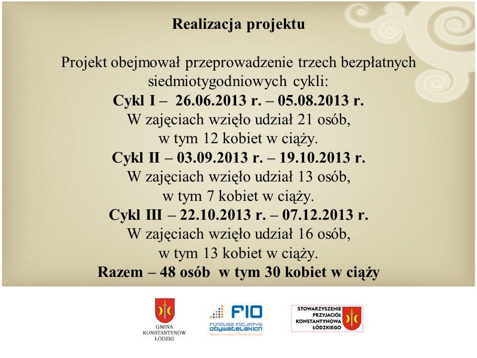 Realizacja projektu Projekt obejmował przeprowadzenie trzech bezpłatnych siedmiotygodniowych cykli: Cykl I – 26.06.2013 r.