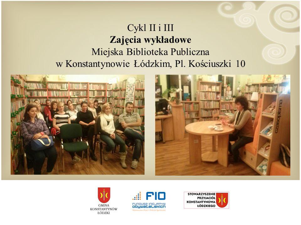Cykl II i III Zajęcia wykładowe Miejska Biblioteka Publiczna w Konstantynowie Łódzkim, Pl.