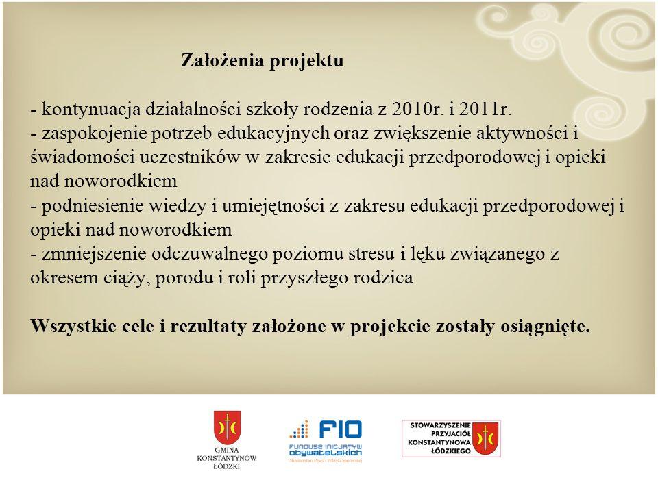 Założenia projektu - kontynuacja działalności szkoły rodzenia z 2010r.