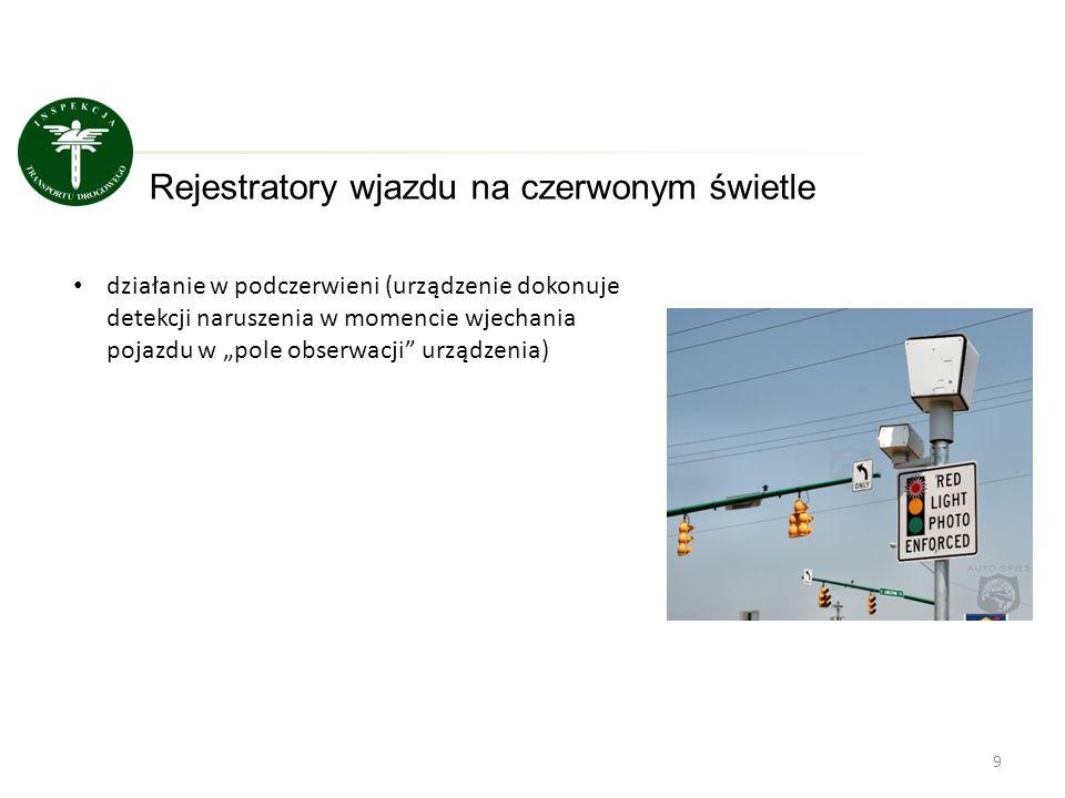 """9 Rejestratory wjazdu na czerwonym świetle działanie w podczerwieni (urządzenie dokonuje detekcji naruszenia w momencie wjechania pojazdu w """"pole obse"""