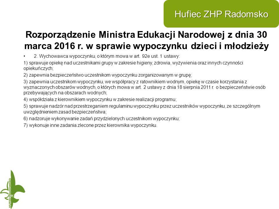 Rozporządzenie Ministra Edukacji Narodowej z dnia 30 marca 2016 r.