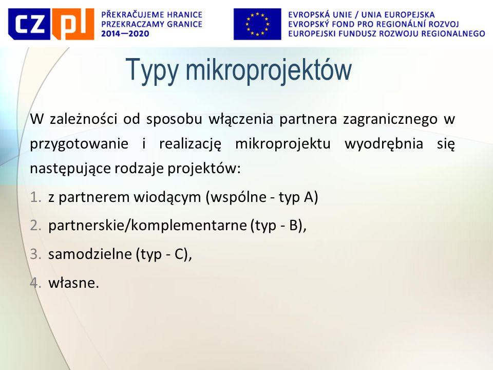 Typy mikroprojektów W zależności od sposobu włączenia partnera zagranicznego w przygotowanie i realizację mikroprojektu wyodrębnia się następujące rodzaje projektów: 1.z partnerem wiodącym (wspólne - typ A) 2.partnerskie/komplementarne (typ - B), 3.samodzielne (typ - C), 4.własne.