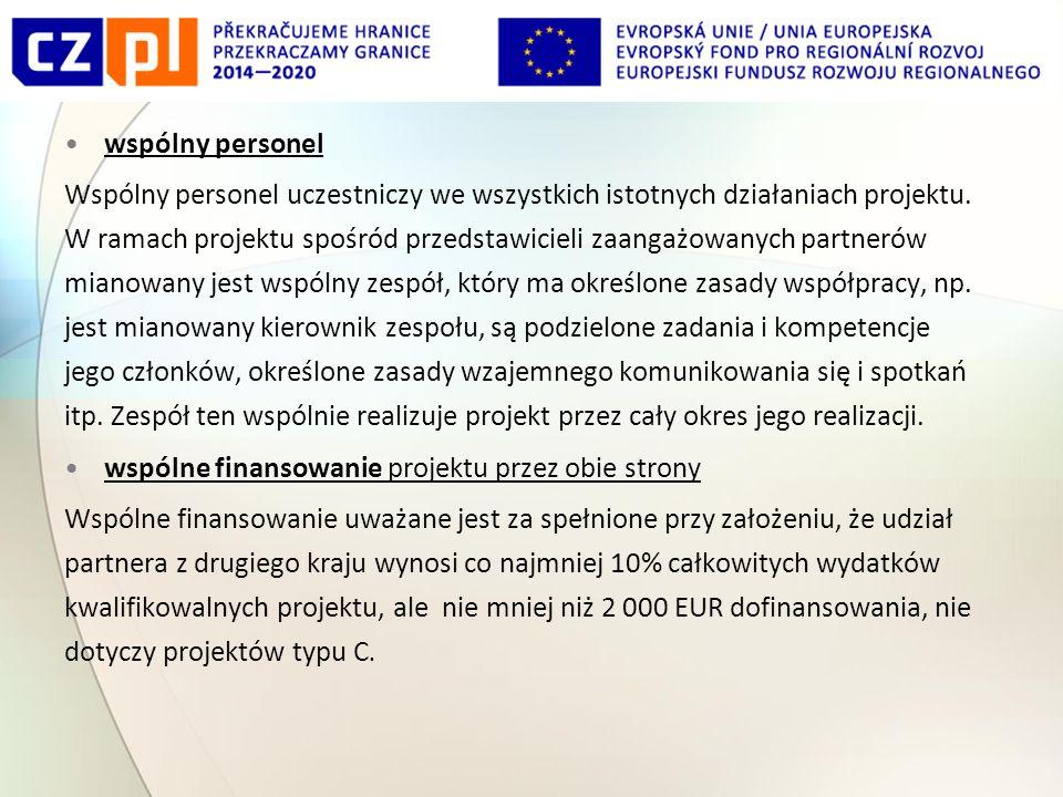 wspólny personel Wspólny personel uczestniczy we wszystkich istotnych działaniach projektu.