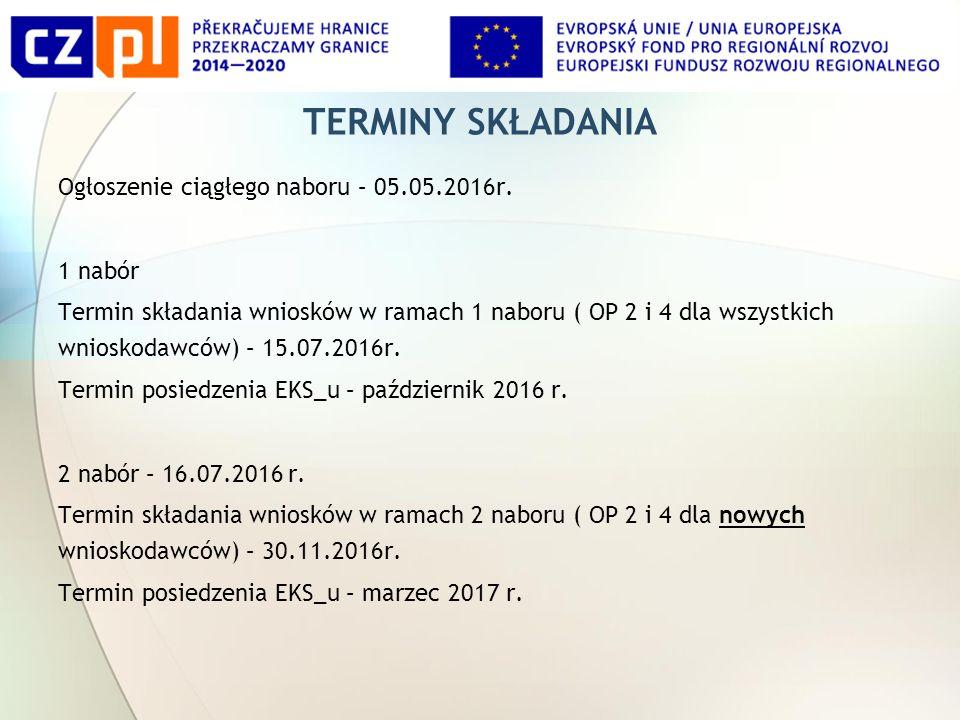 TERMINY SKŁADANIA Ogłoszenie ciągłego naboru – 05.05.2016r.