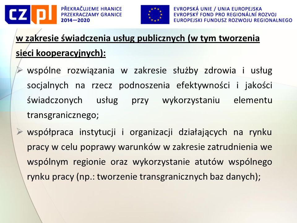 w zakresie świadczenia usług publicznych (w tym tworzenia sieci kooperacyjnych):  wspólne rozwiązania w zakresie służby zdrowia i usług socjalnych na rzecz podnoszenia efektywności i jakości świadczonych usług przy wykorzystaniu elementu transgranicznego;  współpraca instytucji i organizacji działających na rynku pracy w celu poprawy warunków w zakresie zatrudnienia we wspólnym regionie oraz wykorzystanie atutów wspólnego rynku pracy (np.: tworzenie transgranicznych baz danych);