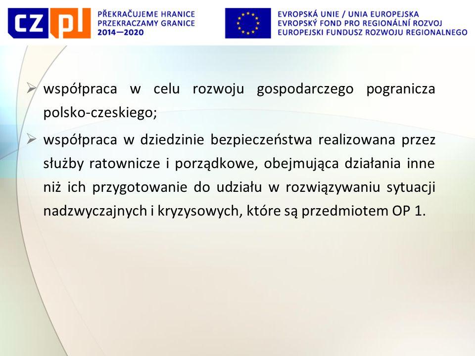  współpraca w celu rozwoju gospodarczego pogranicza polsko-czeskiego;  współpraca w dziedzinie bezpieczeństwa realizowana przez służby ratownicze i porządkowe, obejmująca działania inne niż ich przygotowanie do udziału w rozwiązywaniu sytuacji nadzwyczajnych i kryzysowych, które są przedmiotem OP 1.
