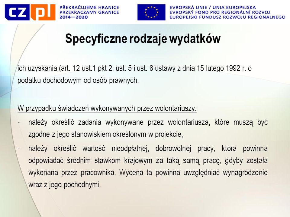 Specyficzne rodzaje wydatków ich uzyskania (art. 12 ust.1 pkt 2, ust.