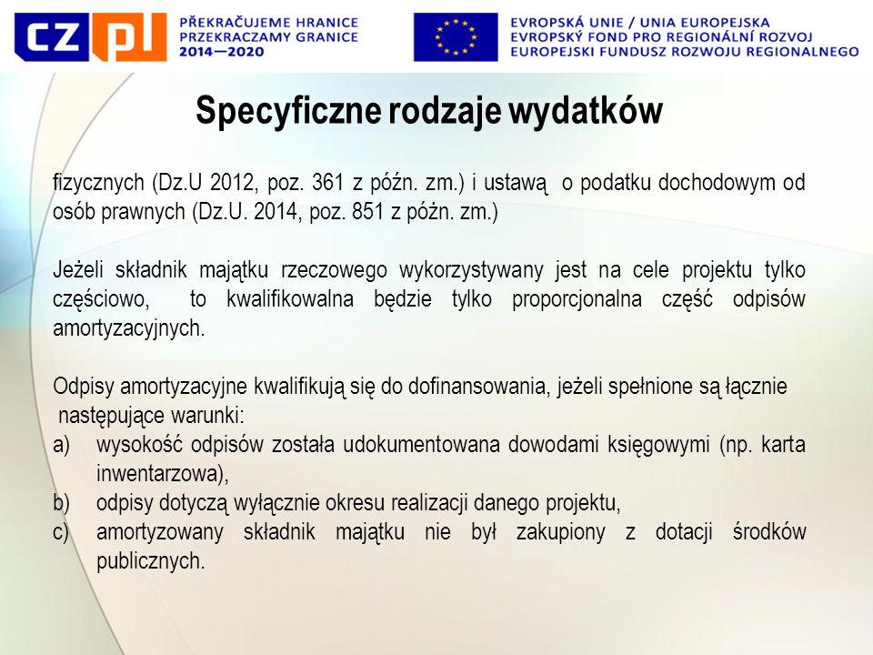 Specyficzne rodzaje wydatków fizycznych (Dz.U 2012, poz.