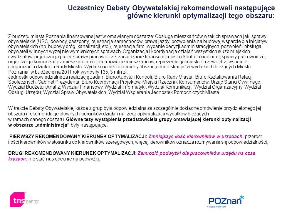 Z budżetu miasta Poznania finansowane jest w omawianym obszarze: Obsługa mieszkańców w takich sprawach jak: sprawy obywatelskie (USC, dowody, paszport