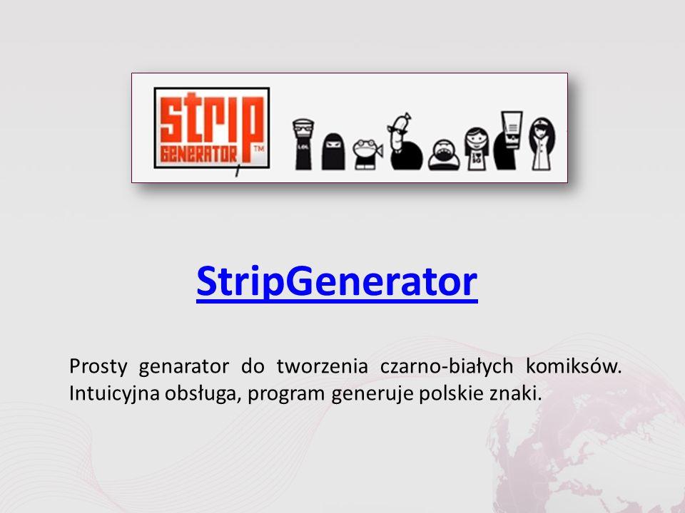 StripGenerator Prosty genarator do tworzenia czarno-białych komiksów.