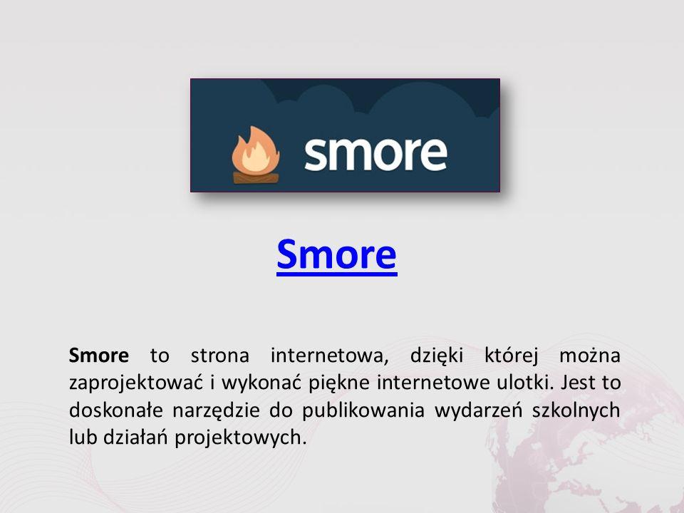 Smore Smore to strona internetowa, dzięki której można zaprojektować i wykonać piękne internetowe ulotki.