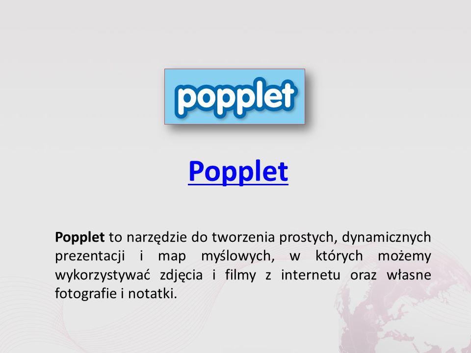 Popplet Popplet to narzędzie do tworzenia prostych, dynamicznych prezentacji i map myślowych, w których możemy wykorzystywać zdjęcia i filmy z internetu oraz własne fotografie i notatki.