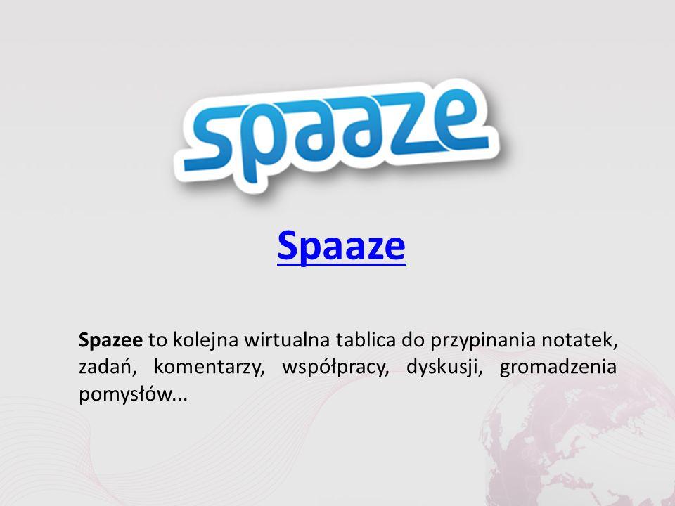 Spaaze Spazee to kolejna wirtualna tablica do przypinania notatek, zadań, komentarzy, współpracy, dyskusji, gromadzenia pomysłów...