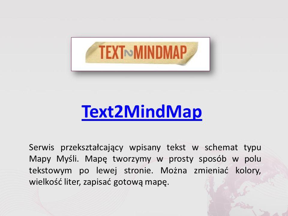 Text2MindMap Serwis przekształcający wpisany tekst w schemat typu Mapy Myśli.
