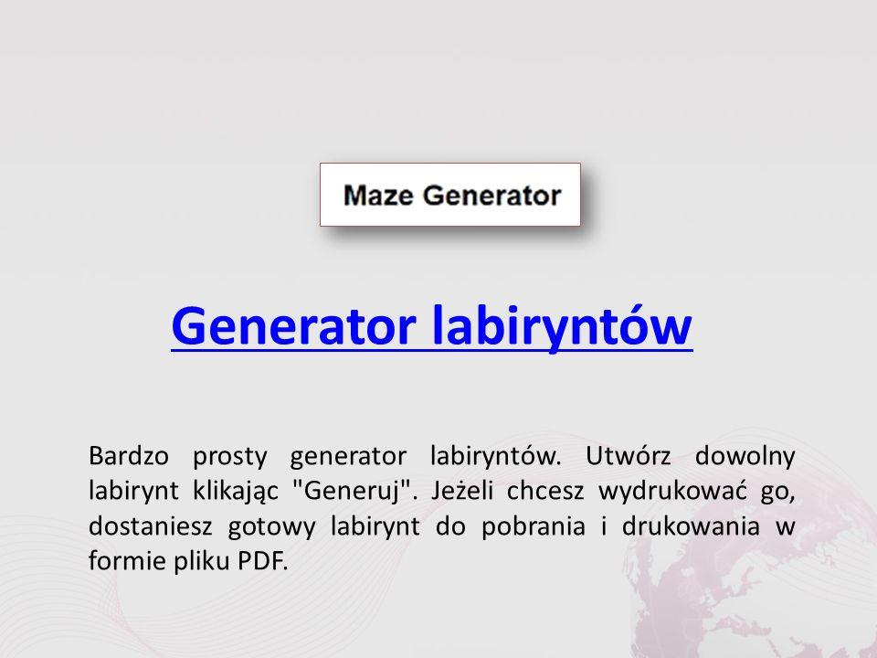 Generator labiryntów Bardzo prosty generator labiryntów.