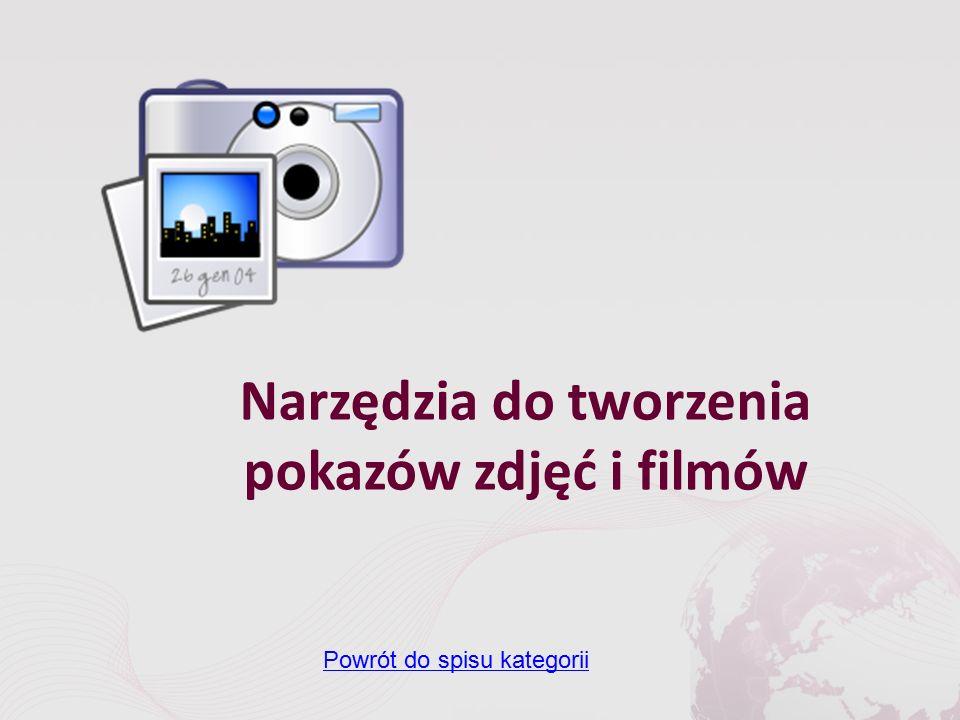 Narzędzia do tworzenia pokazów zdjęć i filmów Powrót do spisu kategorii