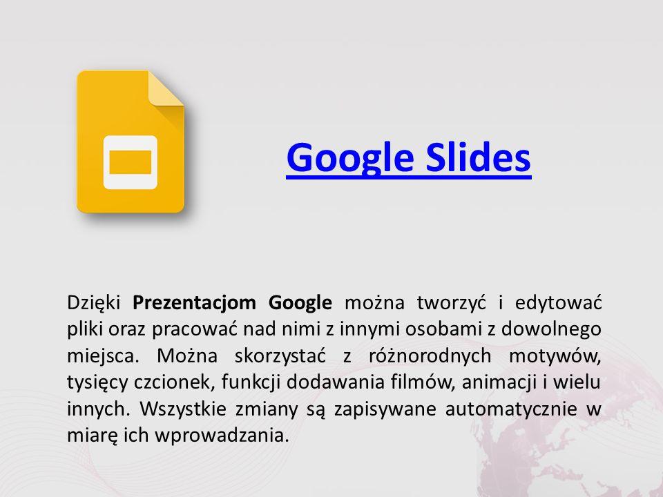 Google Slides Dzięki Prezentacjom Google można tworzyć i edytować pliki oraz pracować nad nimi z innymi osobami z dowolnego miejsca.