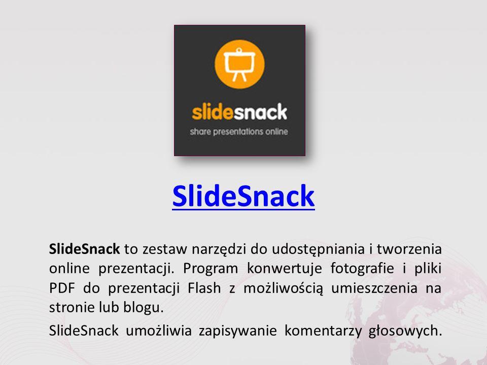 SlideSnack SlideSnack to zestaw narzędzi do udostępniania i tworzenia online prezentacji.